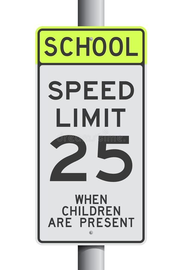 Sinal de estrada do limite de velocidade da escola ilustração royalty free