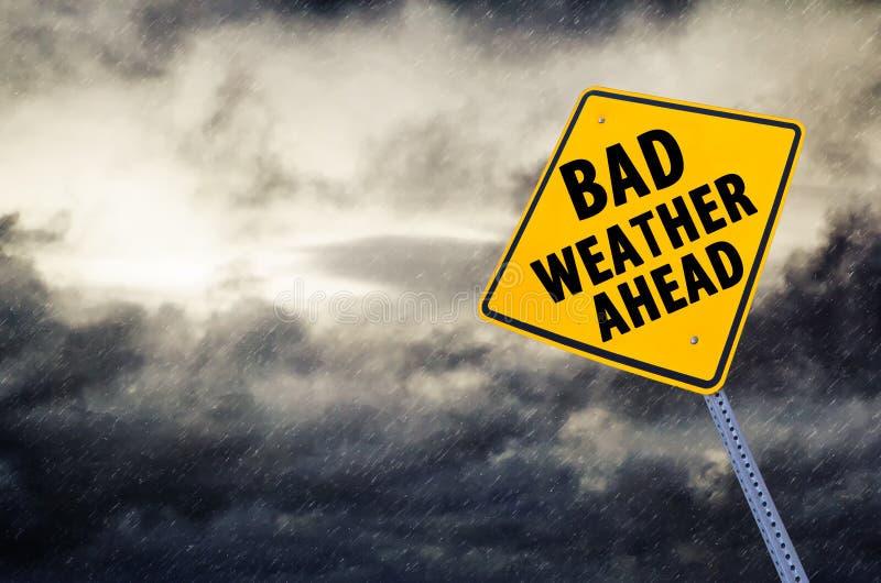 Sinal de estrada do mau tempo adiante imagem de stock royalty free