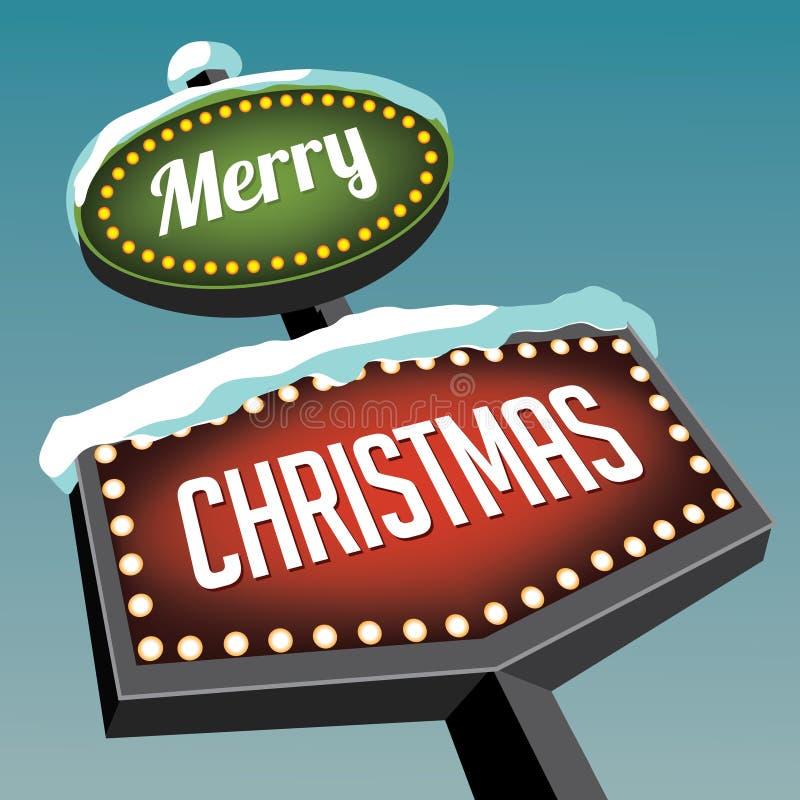 Sinal de estrada do Natal do vintage do Feliz Natal ilustração stock