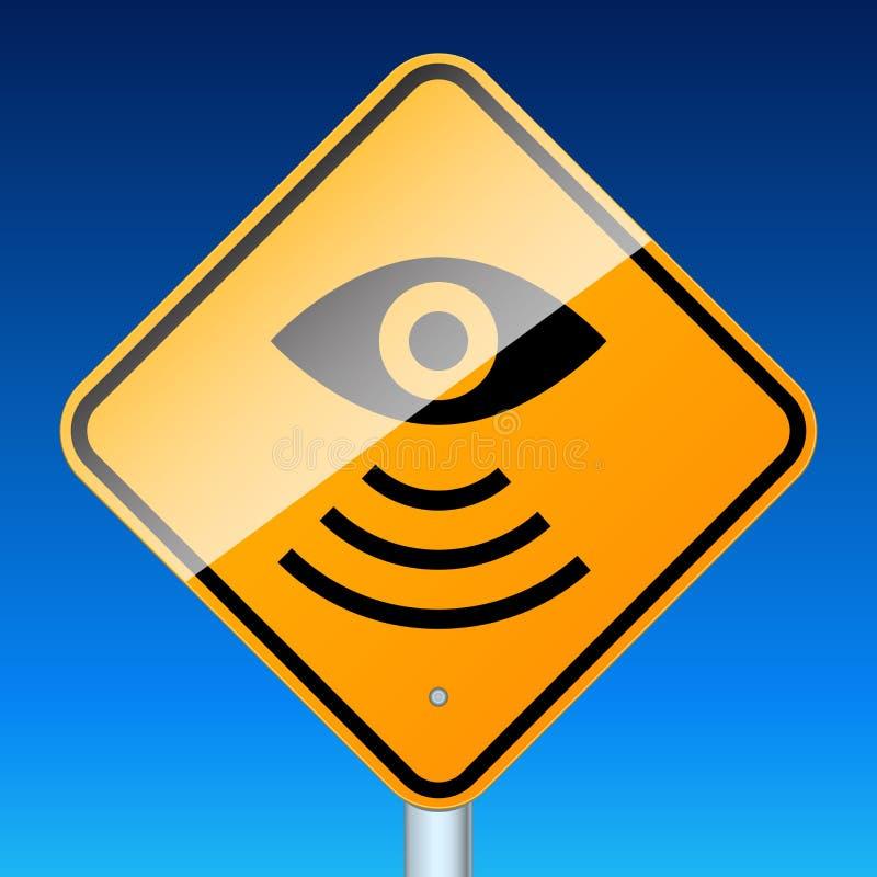 Sinal de estrada do radar no azul ilustração stock