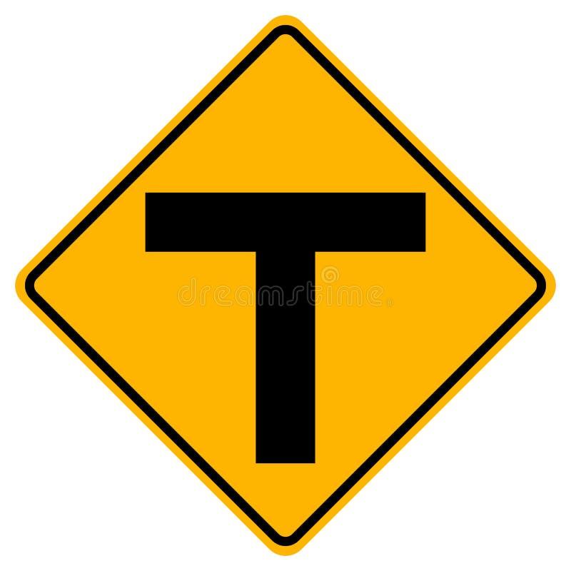 Sinal de estrada do tráfego do cruzamento em T, ilustração do vetor, isolado no fundo branco, símbolos, ícone EPS10 ilustração do vetor