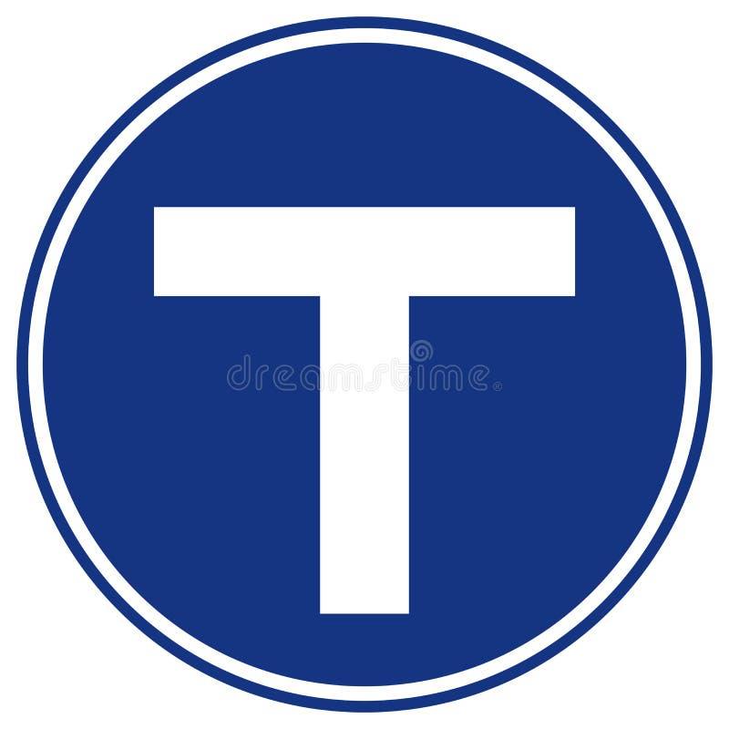 Sinal de estrada do tr?fego do cruzamento em T, ilustra??o do vetor, isolado no fundo branco, s?mbolos, ?cone EPS10 ilustração royalty free