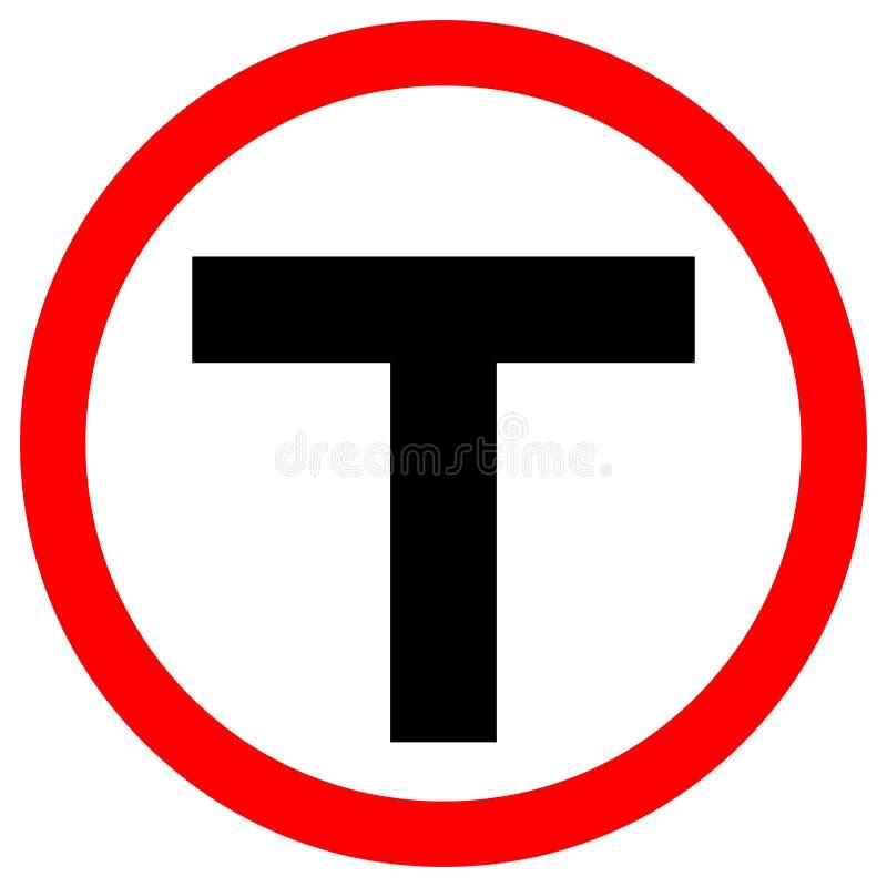 Sinal de estrada do tr?fego do cruzamento em T, ilustra??o do vetor, isolado no fundo branco, s?mbolos, ?cone EPS10 ilustração do vetor