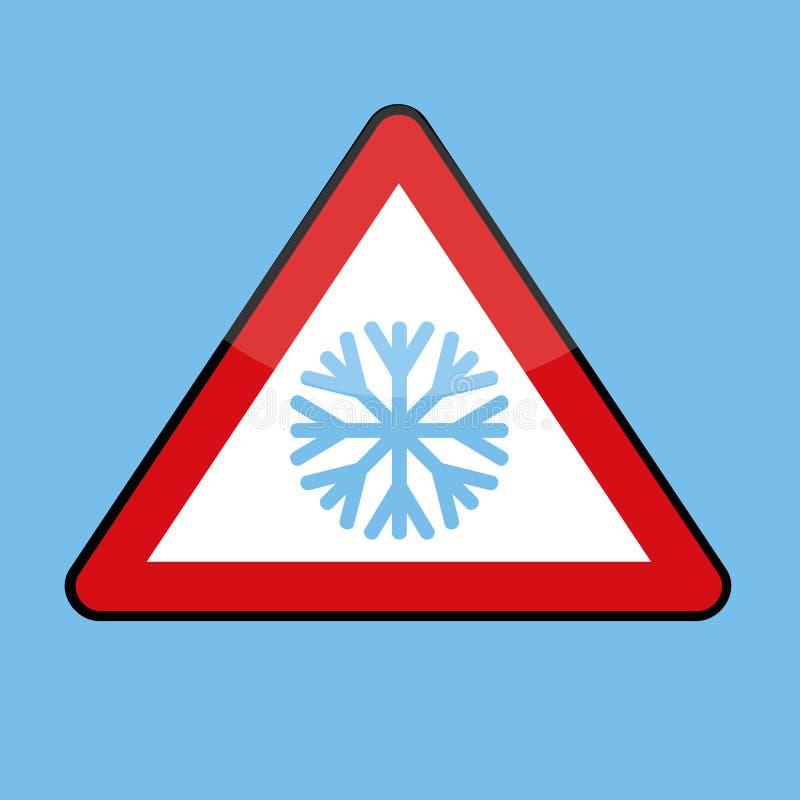 Sinal de estrada do triângulo com o floco de neve para o inverno frio ilustração royalty free