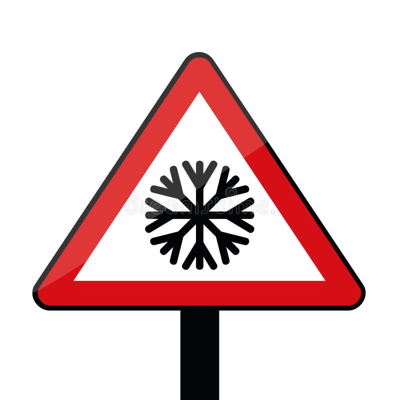 Sinal de estrada do triângulo com o floco de neve para o inverno frio isolado no fundo branco ilustração stock