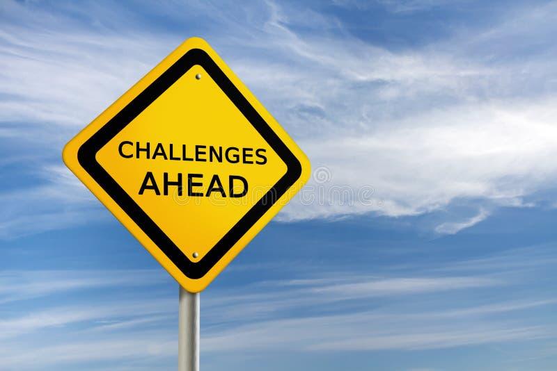 Sinal de estrada dos desafios adiante ilustração stock