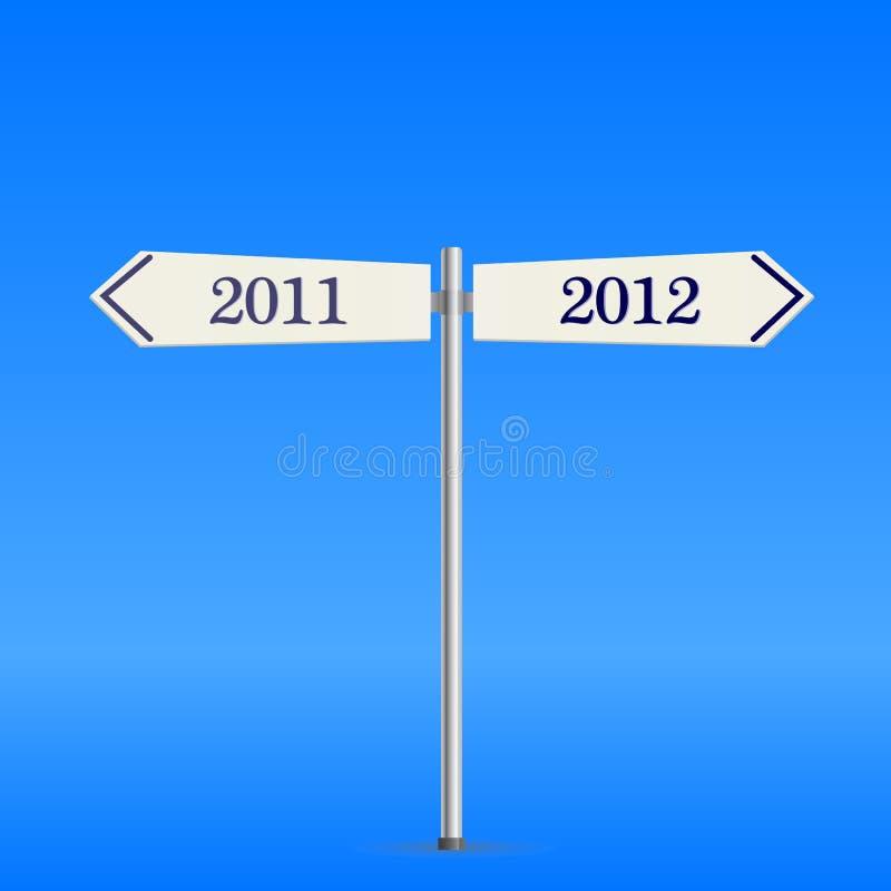Sinal de estrada em dois sentidos com 2012 anos novo ilustração stock