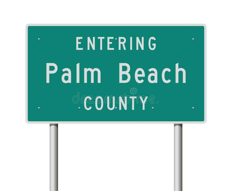 Sinal de estrada entrando de Palm Beach County ilustração royalty free