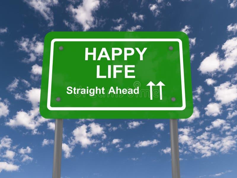 Sinal de estrada feliz da vida ilustração stock