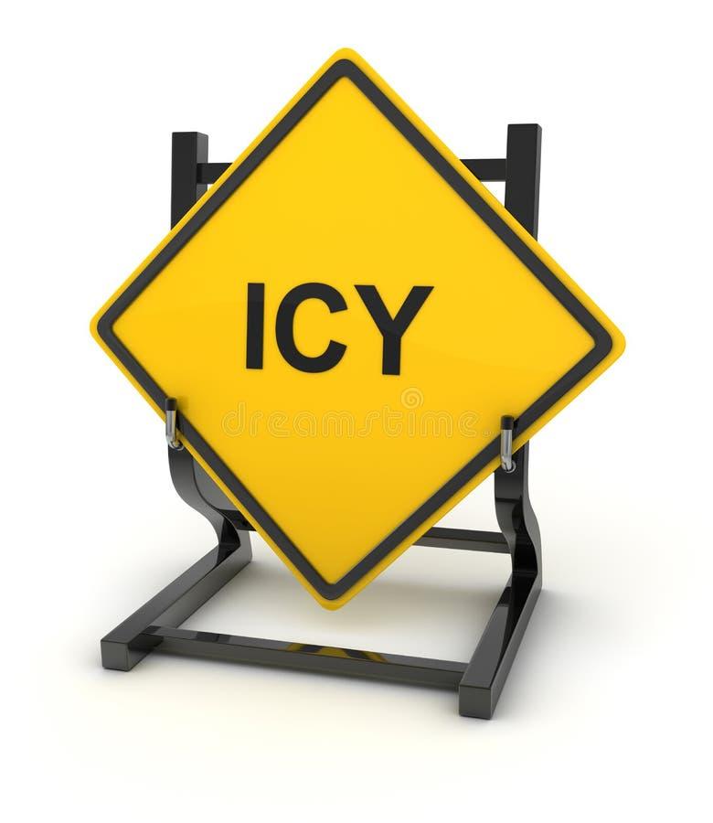 Sinal de estrada - gelado ilustração stock