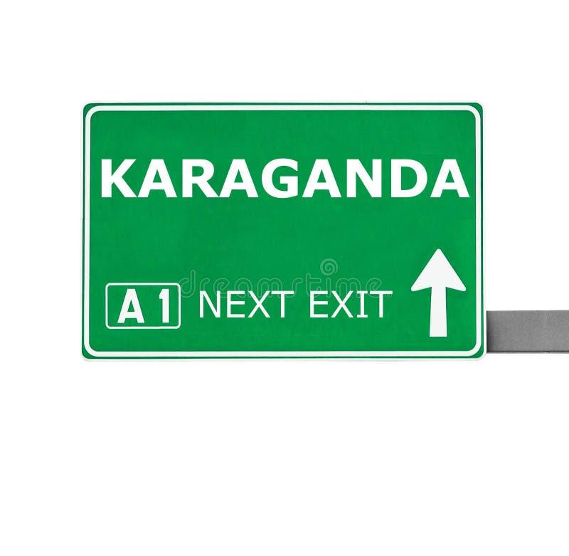 Sinal de estrada de KARAGANDA isolado no branco fotografia de stock royalty free