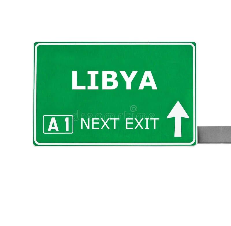 Sinal de estrada de LÍBIA isolado no branco imagem de stock royalty free