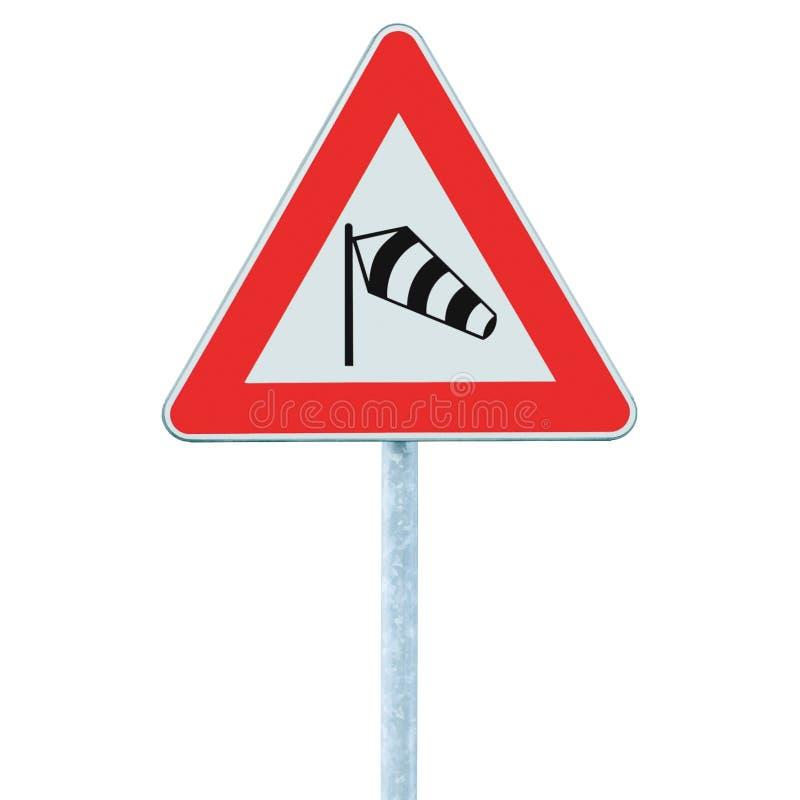 Sinal de estrada lateral repentino dos ventos transversais provavelmente adiante, signage de advertência isolado do sidewind dos  imagem de stock