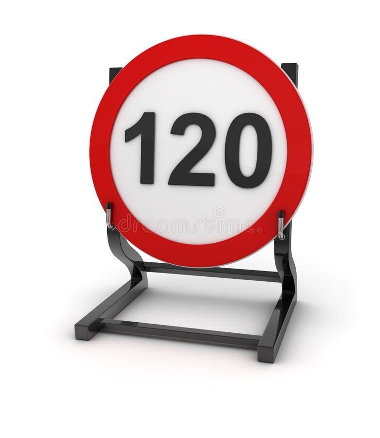 Sinal de estrada - limite de velocidade 120 ilustração stock