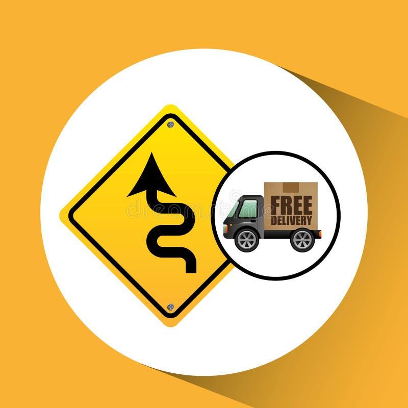 Sinal de estrada livre do tráfego de caminhão da entrega ilustração stock