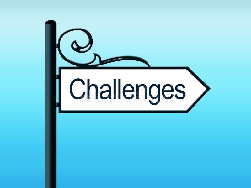 Sinal de estrada ornamentado dos desafios ilustração do vetor