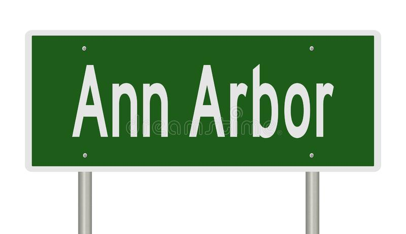 Sinal de estrada para Ann Arbor Michigan ilustração royalty free