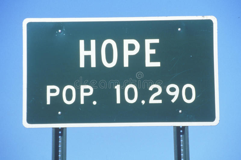 Sinal de estrada para a cidade da esperança em Hempstead County, Arkansas fotos de stock royalty free