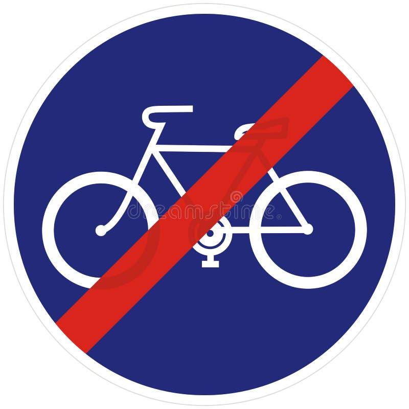 Sinal de estrada para a extremidade da pista de bicicleta, ícone do vetor ilustração royalty free