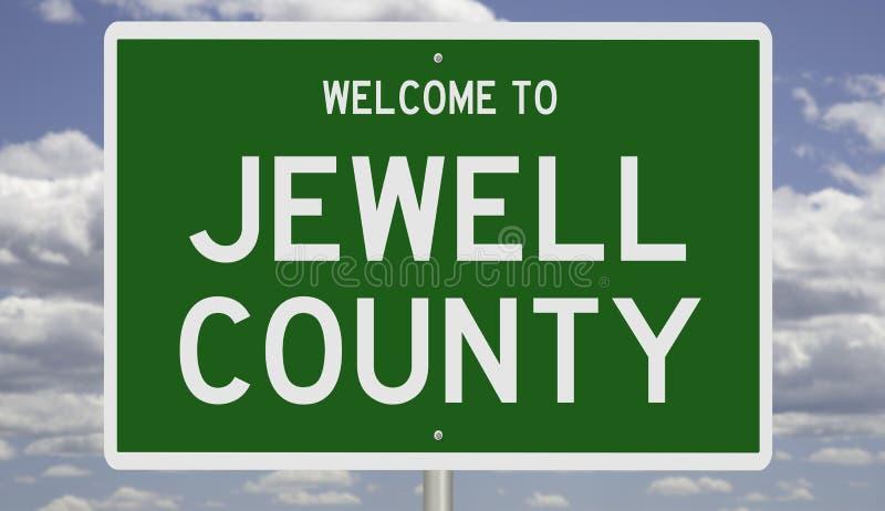 Sinal de estrada para o condado de Jewell fotografia de stock
