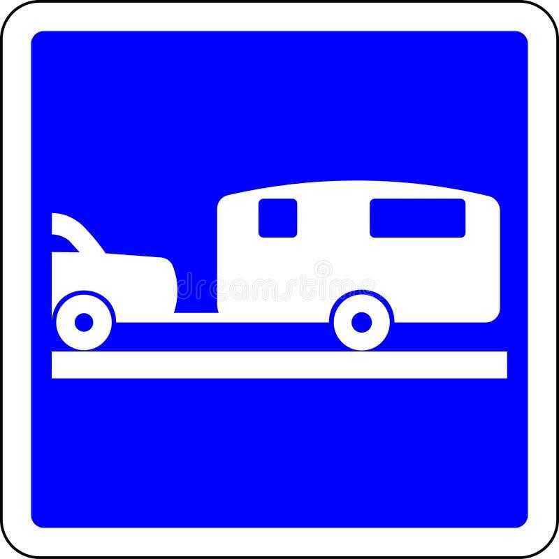 Sinal de estrada permitido caravana ilustração stock