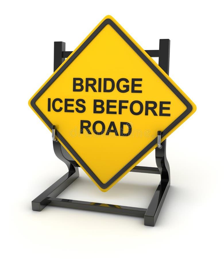 Sinal de estrada - a ponte congela antes da estrada ilustração royalty free