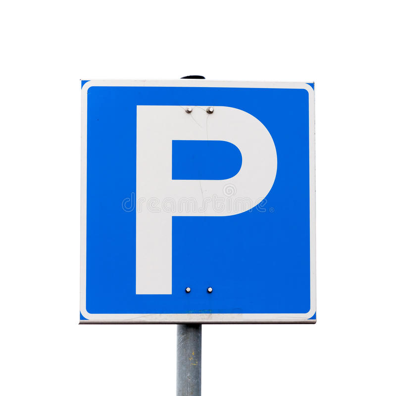 Sinal de estrada quadrado azul do estacionamento isolado no branco imagem de stock royalty free