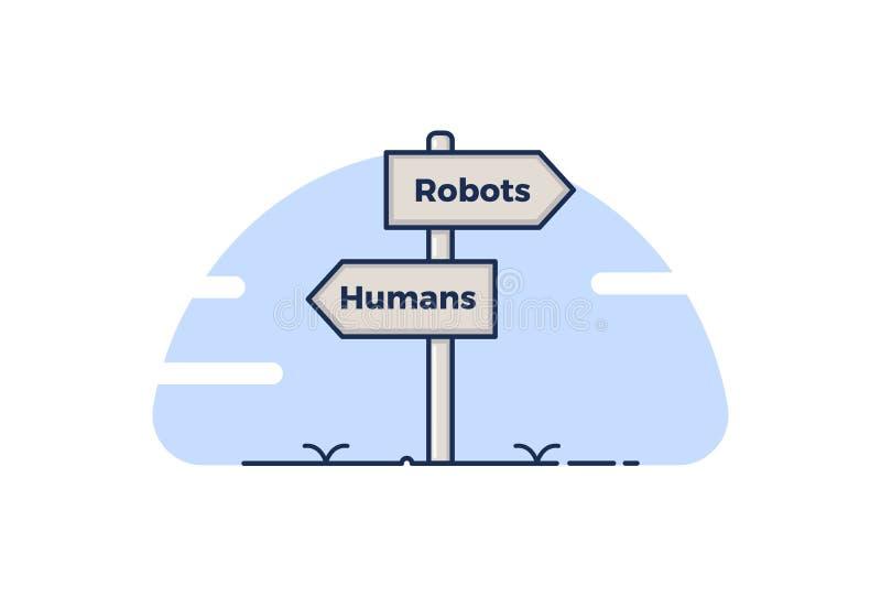 Sinal de estrada que aponta para a 4o Revolução Industrial Quadros indicadores que apontam para 2 conceitos, seres humanos e robô ilustração stock