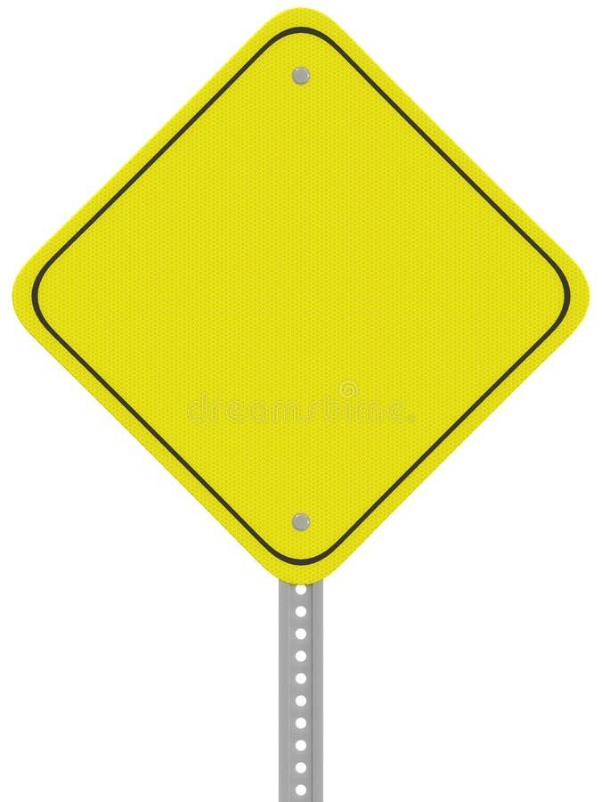 Sinal de estrada reflexivo amarelo do cuidado isolado em um backgrou branco ilustração royalty free