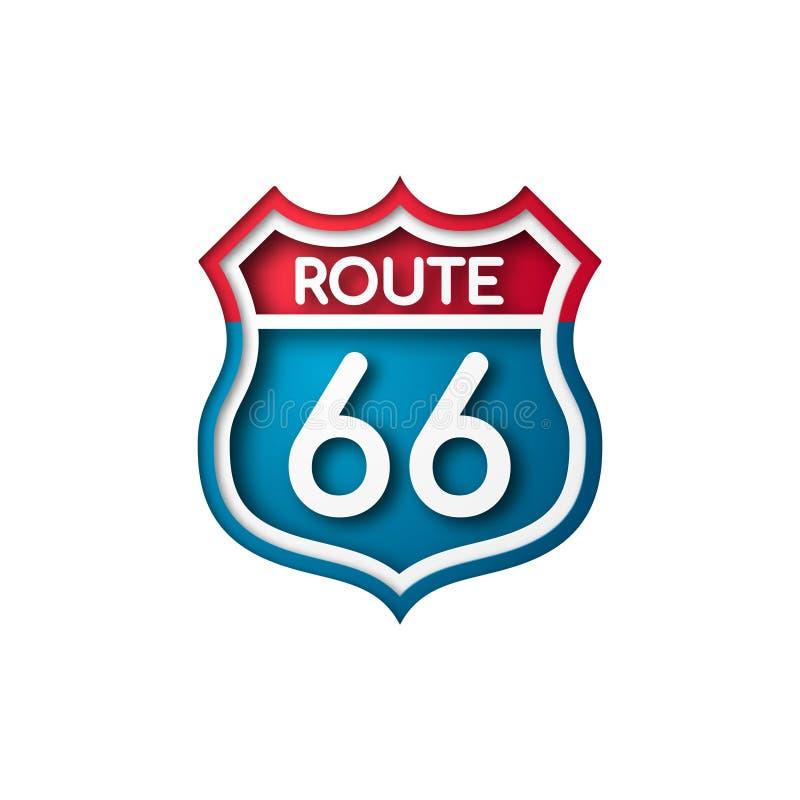 Sinal de estrada Route 66 estilo do corte do papel ilustração royalty free