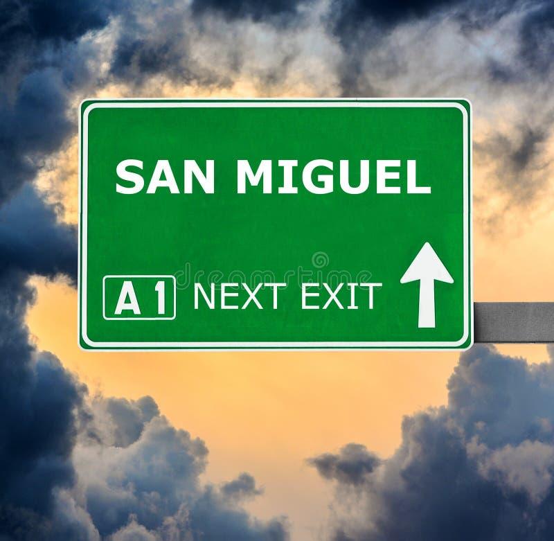 Sinal de estrada de SAN MIGUEL contra o c?u azul claro imagens de stock royalty free