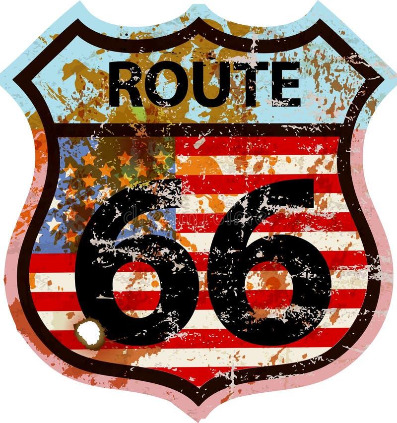 Sinal de estrada sujo da rota 66 ilustração do vetor