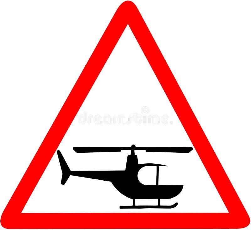 Sinal de estrada triangular vermelho do cuidado de advertência do helicóptero isolado no fundo branco ilustração royalty free