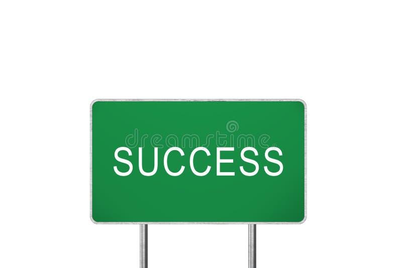 Sinal de estrada verde do sucesso isolado no fundo branco O conceito 3D do negócio rende ilustração do vetor