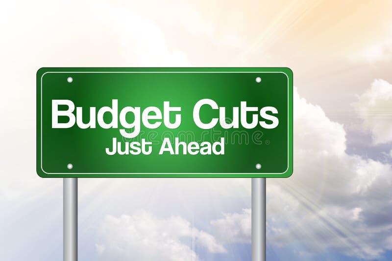 Sinal de estrada verde dos cortes no orçamento ilustração stock
