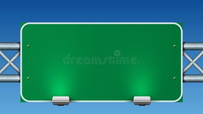 Sinal de estrada verde em branco ilustração stock