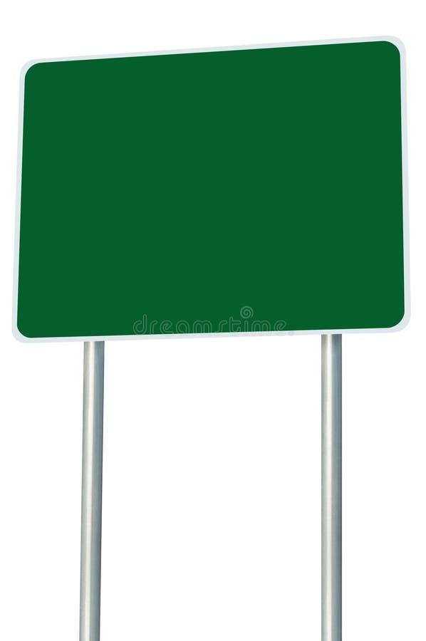 Sinal de estrada verde vazio isolado, grande espaço da cópia da perspectiva imagem de stock royalty free