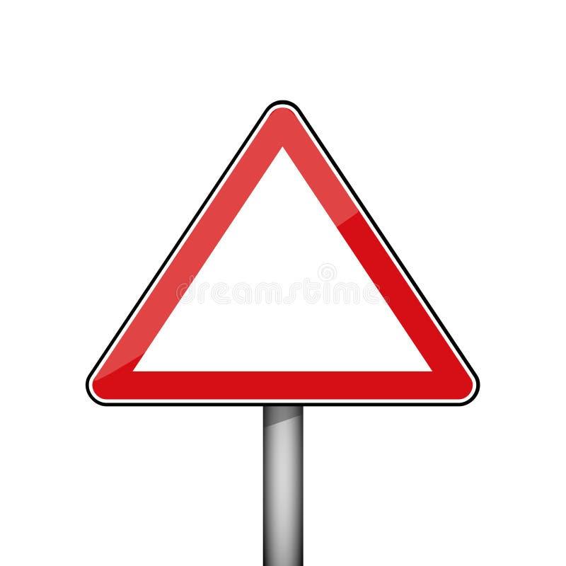 Sinal de estrada vermelho triangular ilustração stock