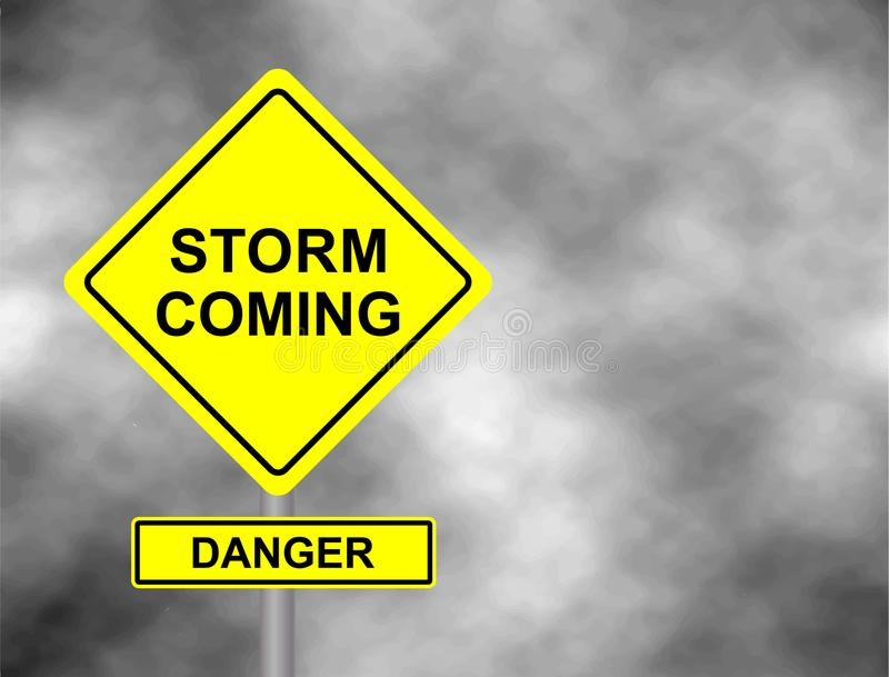 Sinal de estrada de vinda da tempestade do perigo Sinal de aviso amarelo contra o céu cinzento - aviso do perigo do furacão, avis ilustração do vetor