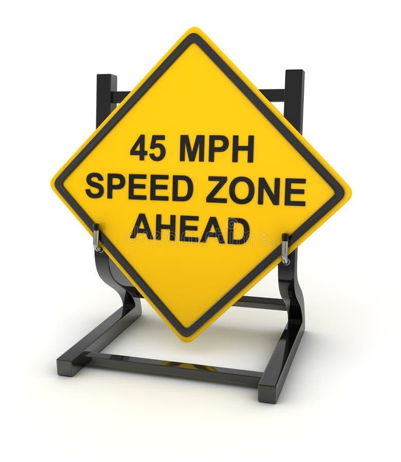 Sinal de estrada - zona da velocidade de 45 mph adiante ilustração royalty free