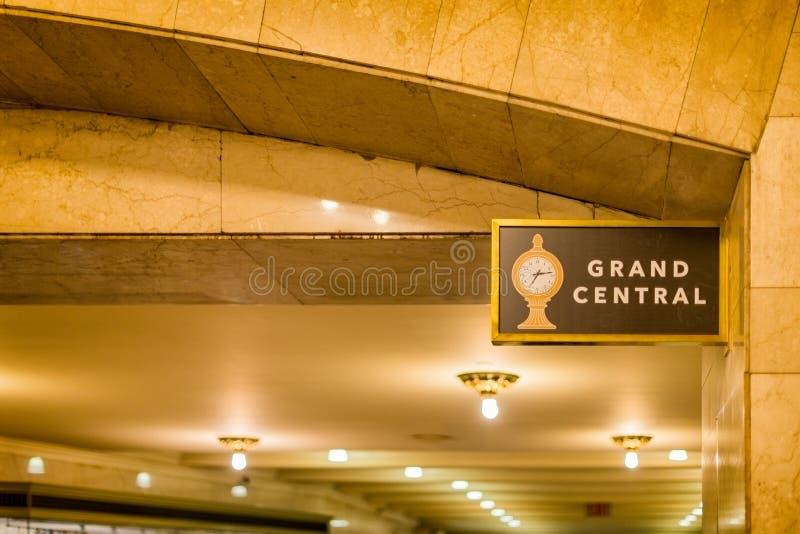 Sinal de Grand Central na estação NYC de Grand Central fotografia de stock royalty free