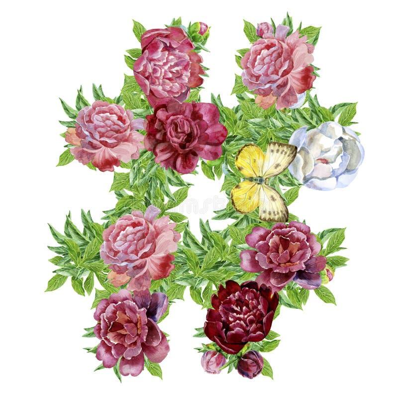 Sinal de Hashtag de flores da aquarela para a decoração ilustração stock