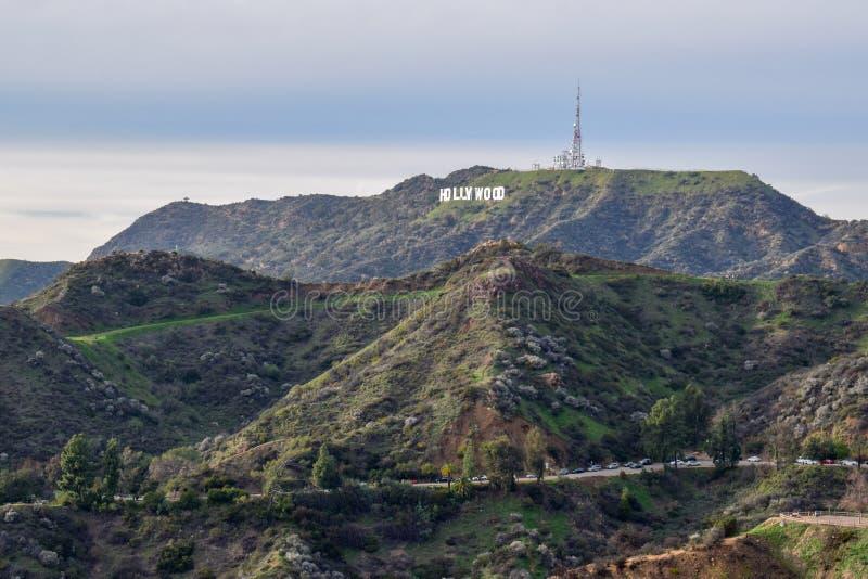 Sinal de Hollywood visto da montagem Hollywood no por do sol fotografia de stock royalty free