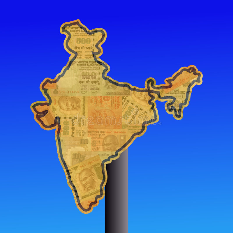 Sinal de India com dinheiro ilustração royalty free
