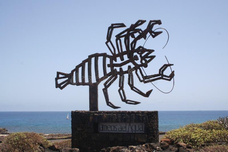 Sinal de Jameos del Aqua em Lanzarote imagens de stock royalty free
