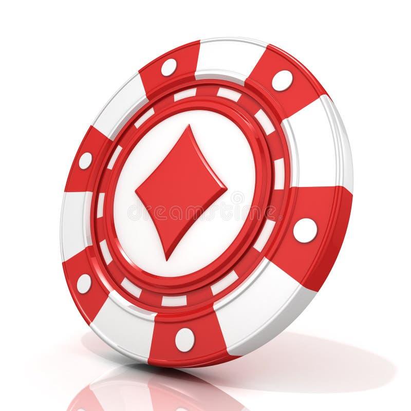 Sinal de jogo vermelho da microplaqueta com o diamante nele ilustração do vetor