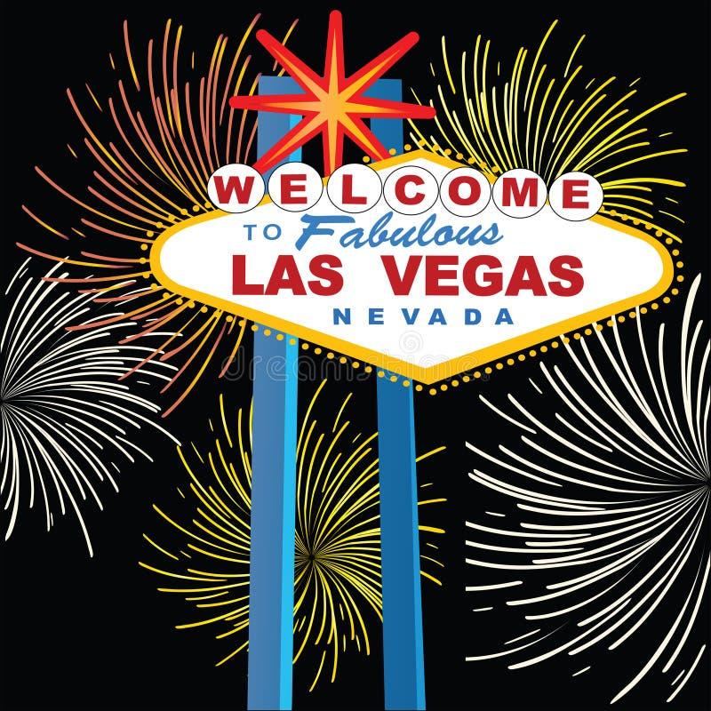 Sinal de Las Vegas com fogos-de-artifício ilustração stock