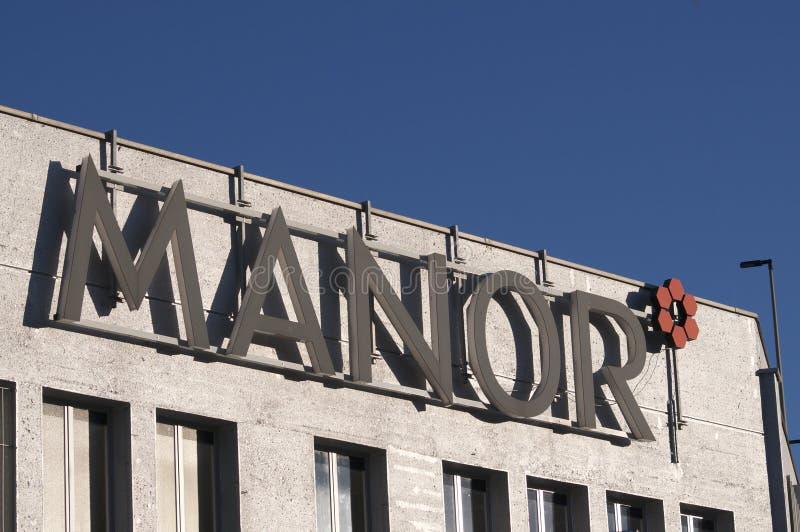 Sinal de logotipo do Manor imagem de stock royalty free
