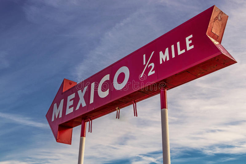 Sinal de México, indiana fotografia de stock