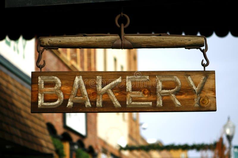 Sinal de madeira da padaria imagem de stock